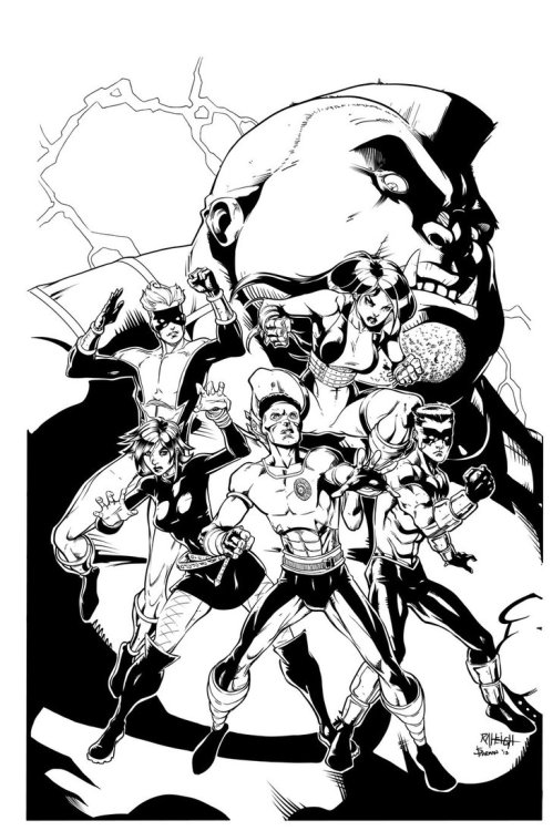 iandsharman:  Teen Force 5 Alt Cover inks Pencils by: Ray-Anthony HeightInks by: Me Teen Force 5, all related characters and indicia © Charlie McElvy, 2012. ARR.