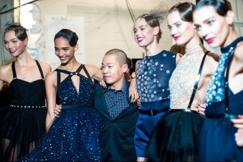 supermodels backstage with the designers at jason wu spring/summer 2013