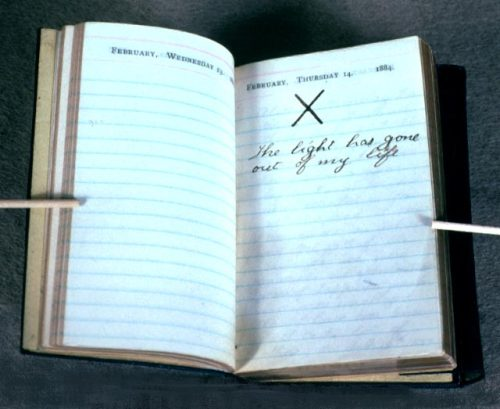 "Teddy Roosevelt's diary on the day both his wife and mother died. The ""X"" is absolutely agonizing…"