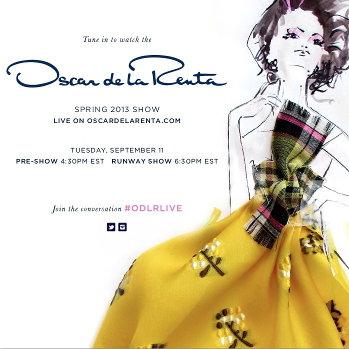 tomorrow before the show we are live-streaming the office on oscardelarenta.com. 4:30pm, k? #odlrlive