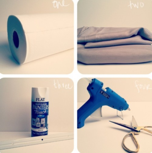 Cool DIY Headband Holder - a roll of paper towels covered with fabric.  lovely idea