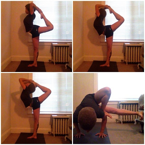 Pictures from my home asana practice this evening: Natarajasana (Lord of the Dance) variations & a grasshopper pose in the bottom right. Weee!