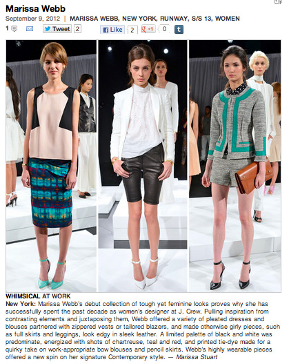 My review for Marissa Webb's debut collection at NYFW.  Check out this and so much more at BLOG.stylesight.com !