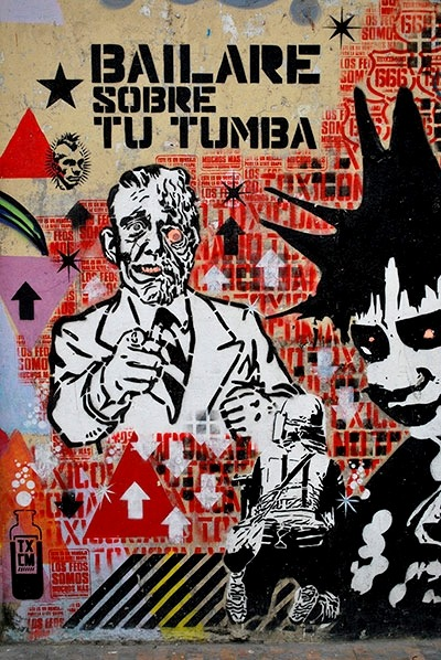Looking for truth in the graffiti art of Bogotá The Guardian is featuring a fantastic gallery on urban graffiti in Bogotá (Colombia's capital city). This particular piece addresses the former president with the words 'I will dance on your grave'. All of the photographs were taken by photojournalist Tom Feiling, who has been living in said beautiful city for more than a decade (and don't miss the cutlines for additional storytelling).  Image: Bailaré sobre tu tumba, by Tom Feiling. Via The Guardian.