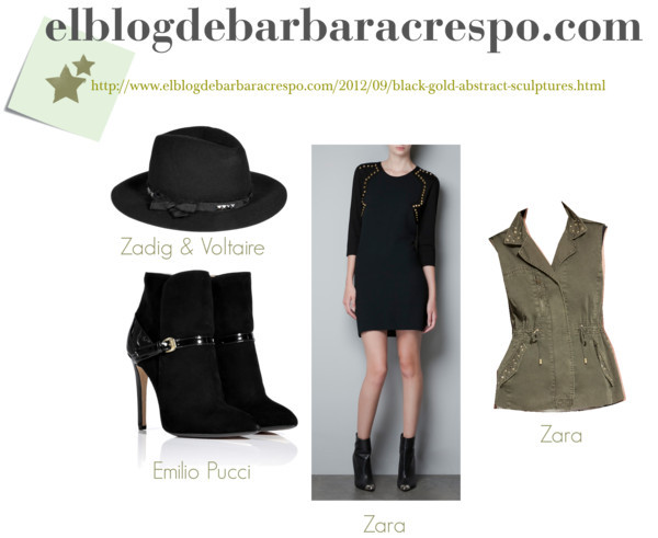Black gold por barbaracrespo con wool hatsZara  dress / Zara studded vest / Emilio Pucci black heels / Zadig & Voltaire wool hat