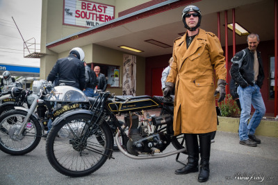 1925 Sunbeam motorcycle and it's rider. A classic pair at VME Isle of Vashon TT 2012.