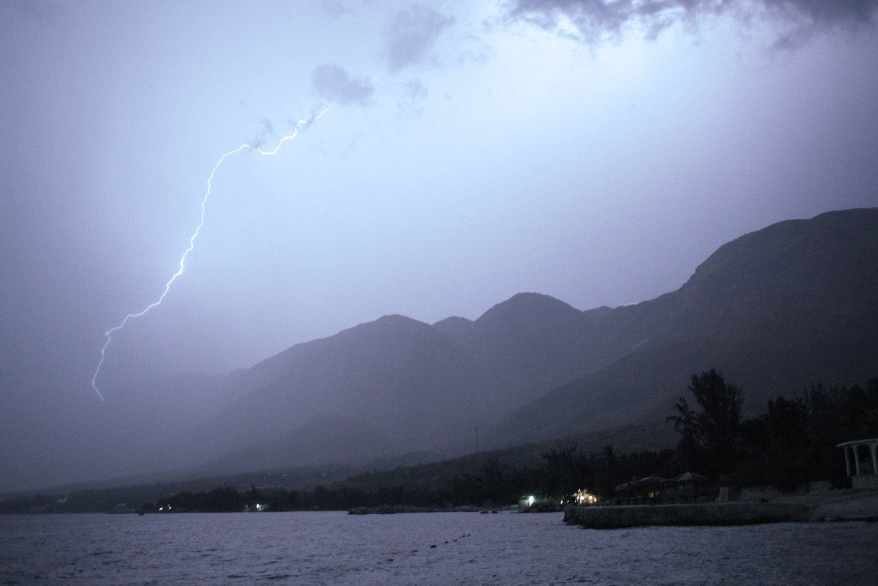 Lightning storm at Wahoo Bay, Haiti.