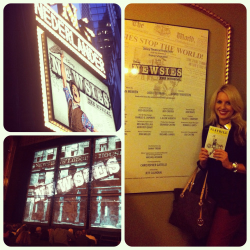 Saw Disney's Newsies tonight at the Nederlander Theater! My oh my, I must say, this show is definitely up there with Wicked if not slightlyy better. Broadway has always been a passion of mine since I can remember. I think the first play I ever saw was 42nd Street (How appropriate). Newsies is such a high energy musical. I've never seen such talent in person with my own two eyes ever; which makes sense because half the cast are graduates of Juilliard. I was literally about 5 rows back from the front. The choreography, the 1900's NY accents, the sets, the creativity of the show overall, the tone quality of all the actors, the TAP ESPECIALLY… good lord. I HIGHLY recommend this show. You'll never forget your viewing experience. Perfect way to close my first NY business trip. It was a complete success!