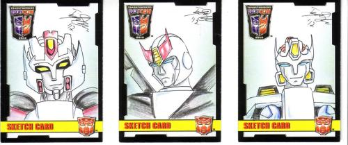 Botcon sketch cards I made as a commission: Wing, Prowl, and Drift. Someone loves them some white mechs.