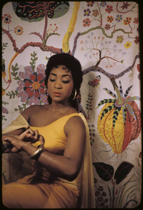 vintageblackglamour:  Soprano Gloria Davy, photographed by Carl Van Vechten on February 22, 1958, in character as Aida. A few days earlier, on February 12, she was the first African American to sing the famous role at The Metropolitan Opera. Photo: Beinecke Rare Book and Manuscript Library