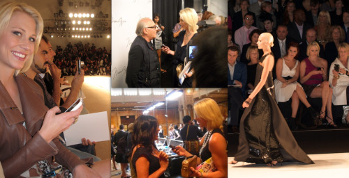 "You can imagine that after 6 seasons of New York Fashion Week – 12 hours a day at the tents during the day and 5 hours of editing at night for 7 days straight in 4 inch YSL Tribute pumps chronicling and streaming commentary on clothing – that I'm a little burned out with the whole fiasco.  So much to the point I don't really follow it anymore, with the exception of flipping through magazines and clicking through links on my tumblr dashboard.   Somehow I get the information…like men know every sports statistic after having on Sports Center in the background for an hour. (BTW, in the photo on the right I'm sitting next to Martha Stewart.  I was so shocked at the time I could barely blog.  Somehow I found words to make small talk.  She even laughed a few times.  I mean, I made a convict and queen of an empire laugh! It was truly one of the most exciting moments of my life. I don't think I need to explain why.  The designers in the center are Max Azria and Jill Stuart.) Fashion evolution has seemingly almost come to a halt in these hard economic times.  Although, according to a story I heard on NPR the other day, the only thing that hasn't declined in our consumer culture is luxury good sales.  In terms of fashion, ""trends"" stick around for countless seasons now (Even WWD sees ""repitition."") to the point that everything seems to be ""in.""  Classic and simple is just as catching as bold and accessorized.  You can wear flats or heels, chunky fabrics or tailored blends, blinged-out beaded numbers or jersey tops, natural or striking makeup, a small messenger bag or an over-sized tote.  Whatever goes as long as you rock it with confidence. Runway fashion can be inspiring with its over-the-top ensembles.  You can pick and choose the little tricks and trends you want to adopt.  But those never really make it to ""the street.""  On the contrary, street fashion pushes trends more these days if you ask me, especially on a local level.  Furthermore, I haven't really seen anything ""awesome"" in the photos.  That's the big difference between being AT the show and seeing pictures.  You can't translate that wow factor.  It's sad to say but the most exciting picture I've seen from the shows has been this one.  I would wear this Carolina Herrera shoe!  So, I'm a little jaded.  And I live in the south, Atlanta of all places, where fashion is practically suffocating beneath Tory Burch and Louis Vuitton branding.  And I'm happy to go along with the simplicity in my own little outfits which mostly include workout gear, simple dresses, and skinny jeans.  I love the no hassle attitude of the lifestyle! All of that being said, I do love the runway show itself where you are enveloped by so many wow factors.  Getting to see the hand-made pieces grace the runway in itself is truly mesmerizing.  I'm sure you've been watching in your own way.  Tumblr for me is the easiest place to get all the news.  Every fashionista and her sister has a tumblr and are live-blogging now.  WWD still is my go-to. MusingsandFemininity has good coverage as well.  On tumblr I found Bureau Betak's blog showing the inside scoop on the shows they produced: DVF, Derek Lam, and Lacoste.  By the looks of this pic Alexandre (above with DVF) has incorporated some crazy spectacle we won't be able to see via stream.  With or without fancy technology, I always loved her show."