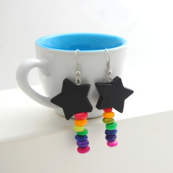 Shooting Star Earrings - Black Star with Rainbow Shell Beads - FREE SHIPPING US AND CANADA