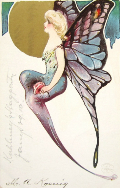Beautiful Art Deco Butterfly Lady Postcard c.1910