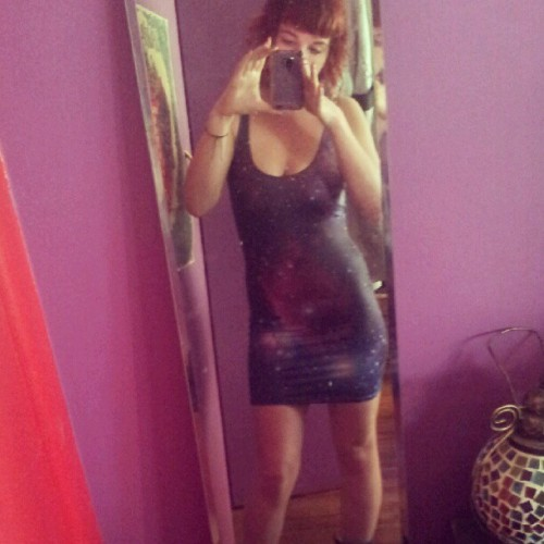 It's actually warm today! #blackmilkclothing #purplegalaxydress (Taken with Instagram)