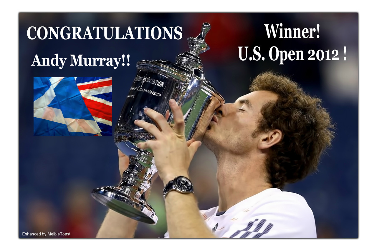 CONGRATULATIONS to Andy Murray!  Andy defeated Novak Djokavic in 5 sets in a stunning U.S. Open Championship Match today in New York, September 20, 2012!  Hooray for Great Britain and Scotland!