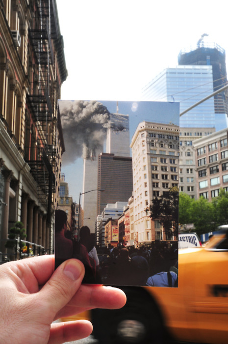 picturedept:  Remembering 9/11/2001 (via Newsweek)  Wow. Never forget. (But we can stop exploiting it for political gain now, ok?)
