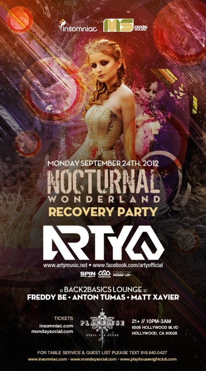 ARTY will be rocking the Nocturnal Wonderland Recovery pARTY!  Buy tickets here.