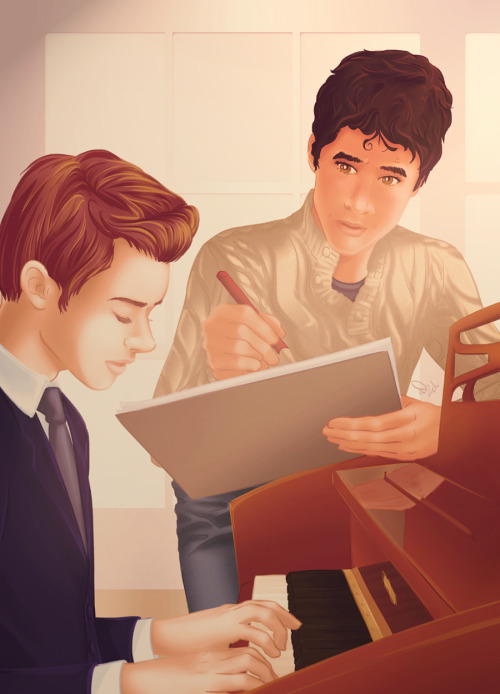 ourlivesareweird:   Blaine drank him in, sketching fast—much faster than he usually went. Just that face, just a simple sketch, but he was trying to capture… so much; the warm light on pale, fine skin; the evocative, elusive quality of timelessness—as if Kurt were a ghost from a bygone age, impossible to touch; the perfect, charming beauty that threaded innocence and experience together, and—that voice. Of course he could never catch that, never translate that pleasure from his ears and nerves and heart to the paper. Never.He tried anyway.Blaine sank further, falling into the work, feeling each line and shade and curve like he was touching it with his fingers, memorizing shape and texture—but the next time he glanced up, his hand went abruptly still.Kurt's eyes were closed. He was still singing. He looked… lost, lost in what he was doing, surrendered and abandoned to it—and a streak like lightning ran down Blaine's spine. — The Muse by the-cimmerians  All I need to say is that this author is my aspiration and inspiration. Her prose is simply out of this world, achingly beautiful to the core, and her plots are always striking. I had to draw from this story in particular, which is quite possibly my favorite, although I in no way did it justice. If you haven't already, please check out Cimmerians' work! This is the fifth of a continuing series of fanart fic recs. Find my tag for them here.  Some photo references used, mostly for the piano. I need to pick a single coloring style one day and stick with it; today's not that day. Extra thanks to Kara for providing concrit as I sketched. I take suggestions for fic rec fanart in my ask, but make no promises!