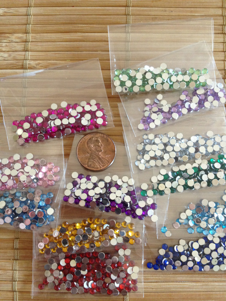 "Round rhinestones. 75cents/pack. Assorted colors available. ""medium size"" for nail art"