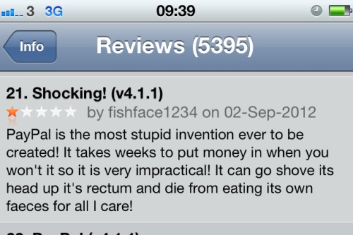 PayPal app reviews