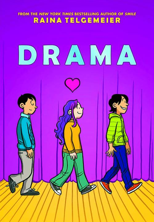 Market Monday Drama by Raina Telgemeier  Callie loves theater. And while she would totally try out for her middle school's production of Moon Over Mississippi, she's a terrible singer. Instead she's the set designer for the stage crew, and this year she's determined to create a set worthy of Broadway on a middle-school budget. But how can she, when she doesn't know much about carpentry, ticket sales are down, and the crew members are having trouble working together? Not to mention the onstage and offstage drama that occurs once the actors are chosen, and when two cute brothers enter the picture, things get even crazier! Following the success of Smile, Raina Telgemeier brings us another graphic novel featuring a diverse set of characters that humorously explores friendship, crushes, and all-around drama!