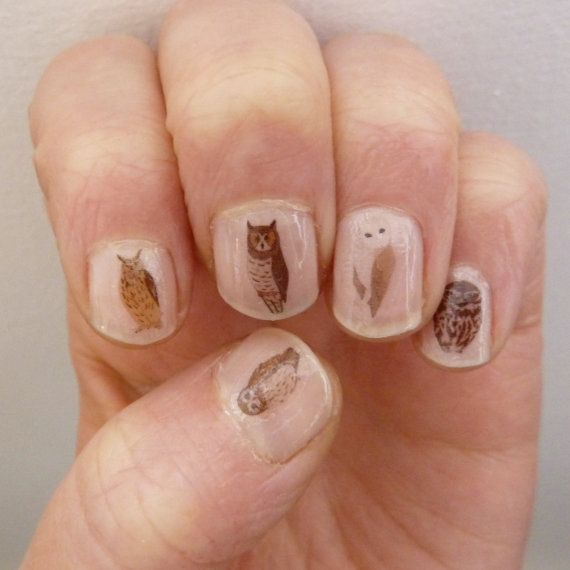 lazyorangehousecat:  Owl Nail Transfers by Kate Broughton on Etsy. I think I need everything in this shop.