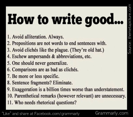 A tongue-in-cheek guide to writing well. Let us help this school year.   http://www.grammarly.com/back-to-school/Now at 50% off the regular price, Grammarly will help you find and correct writing mistakes as well as avoid plagiarism. Sale ends September 12, 2012 at 12:00am PST. Deal valid for new customers only.
