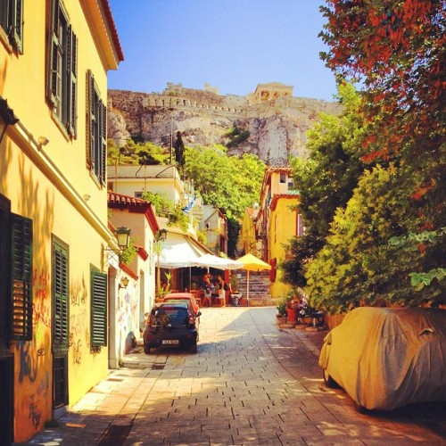 austrianusfans:  Narrow street in the Plaka neighborhood of Athens. #street #cars #acropolis #parthenon #plaka #athens #greece #greece2012 #promote_greece #igers #instago #igdaily #igaddict #instagramhub #instagrammers #instagreat (Taken with Instagram)