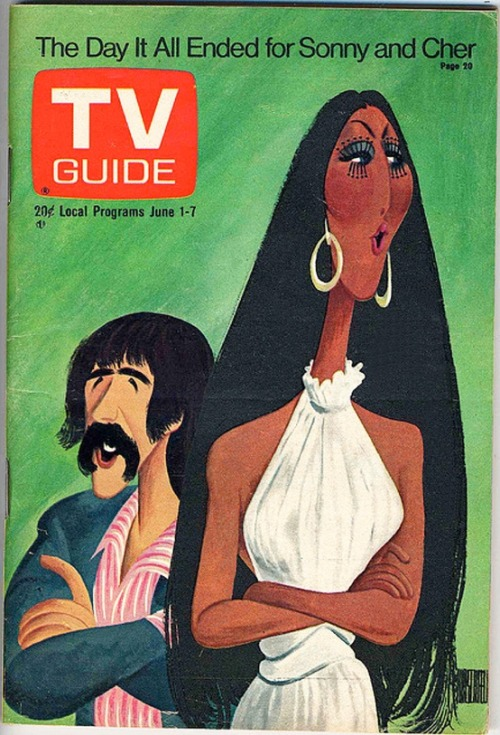 superseventies:  The Day It All Ended for Sonny and Cher, TV Guide, June 1, 1974. Caricature by Hirschfeld.
