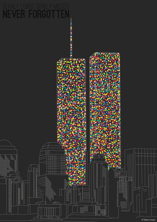 salmanorguk:  2606 Souls compose The Twin Towers 2606 Souls Artwork.  (There are 2606 dots that compose the WTC's Twin Towers, the number of people who passed away in the WTC on 9/11) Available as A2, A0, 12x16, 20x30 posters/canvas at www.salman.org.uk/shop