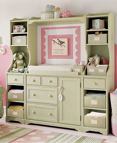 DIY Refurbished Nursery Hutch VIA: A Scrapbook of Me This gorgeous nursery hutch used to be an entertainment center. I know not all of us have one of these lying around but it is still an inspiring example of repurposing! While the link does not take you to the source (or even mention the source. I tried finding it with Google and came up with bupkiss.) The post is full of pretty nursery pictures.