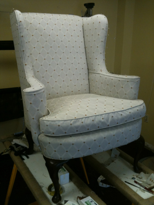 Chair redo with custom fit slipcover option.  The slip covered shot.