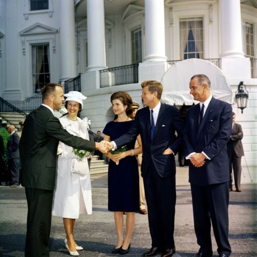 jfklibrary:  May 8, 1961 — President and Mrs. Kennedy, along with Vice President Johnson, greet Commander Alan B. Shepard, Jr. and his wife Louise prior to a presentation of the NASA Distinguished Service Medal to Commander Shepard.  The JFK Library and Museum will be unveiling a new installation featuring Freedom 7, the iconic space capsule that Shepard piloted on the first manned American spaceflight, tomorrow at 10:00 AM. If you're in the Boston area, join us! If you're not, don't despair — the capsule is scheduled to remain at the Museum through December 2015.