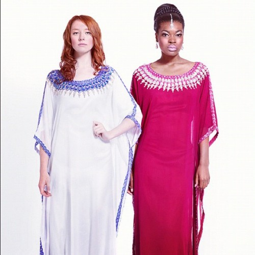 "#yarayosif #original ""Mariam"" and ""Fatima"" #kaftan #dresses order from YaraYosif.com . #photography by @gregwaldo . #models @FemmeDeLaMode and @CynthiaLiberman (Taken with Instagram)"