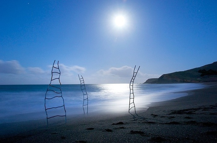 Joy Umali's ladders along the San Francisco shore.