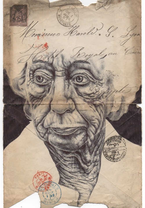 markpowellart:  Bic Biro on on 1887 Parisian envelope.