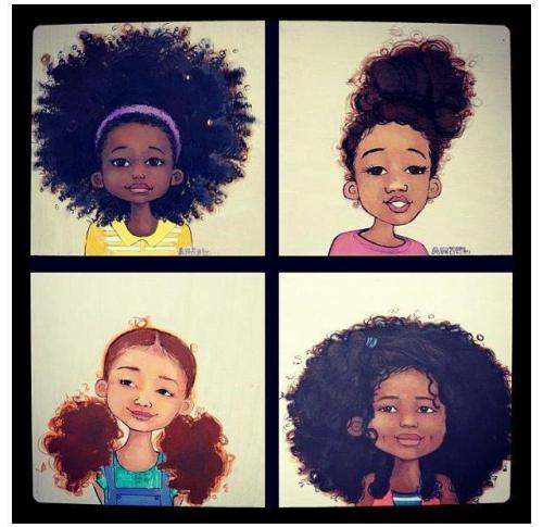 yhamourhiad:  Awww <3 I love the diversity in their hair texture and skin tones!! <3
