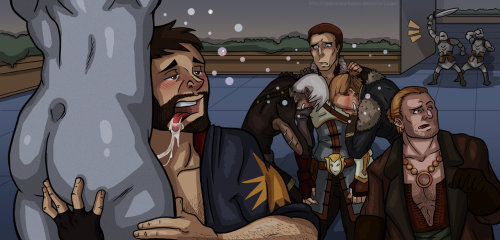 cypheroftyr:  ns ladyreddarkness:  Drunken Night in Kirkwall 2 by ~LadyRedDarkness  OMG I nearly spit out my coffee… Dear Maker above.
