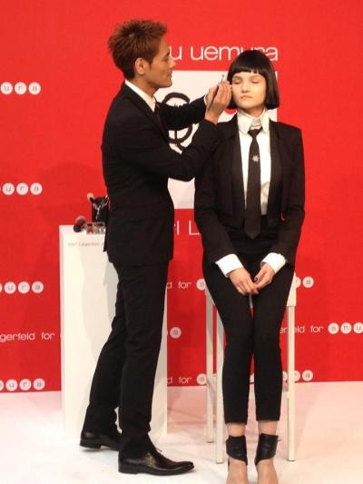 Uchiide, turning our model into a real Mon Shu girl at the launch of the KARL LAGERFELD for Shu Uemura collection