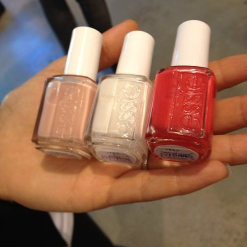 Essie for Rachel Roy: Block (white) on toes with Canyon Coral on top. Best Boyfriend (pretty nude shade) for hands Photographed by Eden Univer
