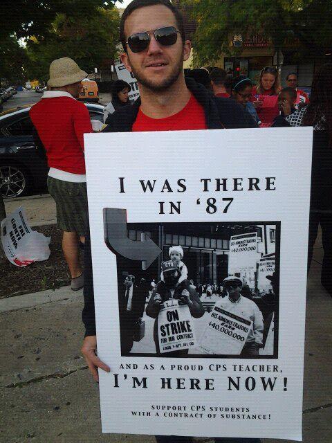 socialismartnature:  From yesterday's picket line at Kenwood Academy (Chicago Teacher Strike - 9/10/12)  Solidarity.
