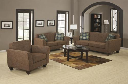 Create a warm and inviting atmosphere with this collection. Covered in a brown tweed material with contemporary blue/teal box pillows, this sofa set will leave a lasting impression. Built to last, this set has been constructed with solid wood legs, pocket coil seating and plush foam cushions. Add this collection to your home for only $1,369!