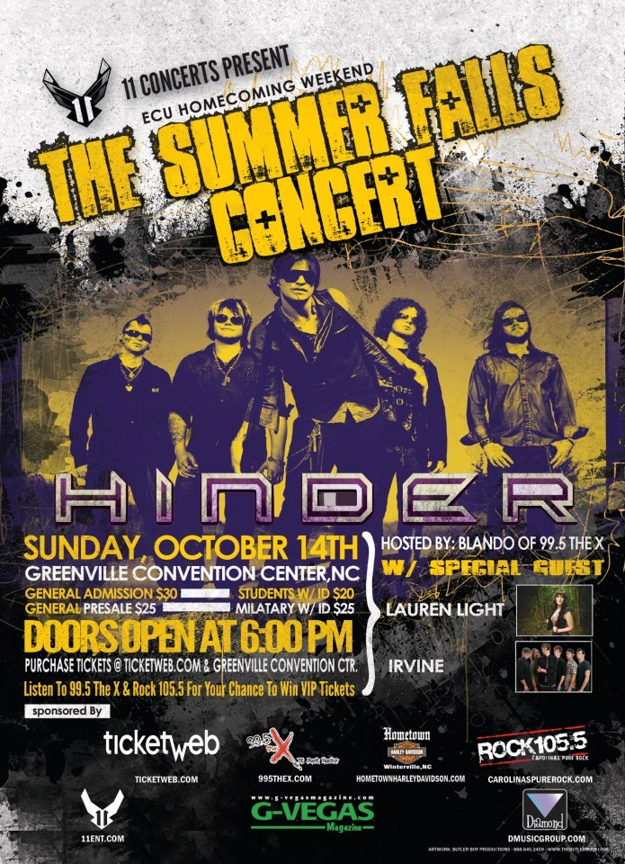"Awesome News!  We will be opening up for ""Hinder"" on Oct. 14th!"