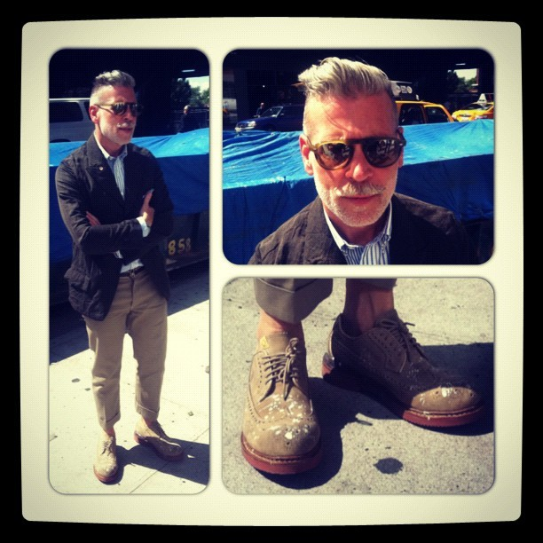 Mr Nick Wooster's Sunday outfit. Sunglasses by Garrett Leight- you'll find their brothers on www.mrporter.com @Nickwooster #nfw #mrporterlive #attheshows  (Taken with Instagram)
