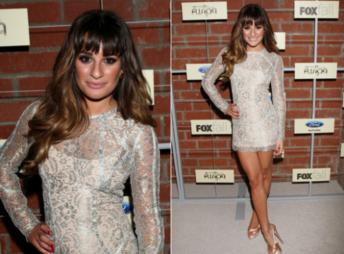 Lea Michele at the FOX Fall Eco-Cosino Party - 10th September 2012 Lea looked fierce in this sheek, silver dress by Zimmerman and sling-back pumps by Giuseppe Zanotti (thanks whatdidshewear!).  Michele's makeup was a smoky grey palette with red nails and a nude lip. Thick tumbling curls finished the look. This silver dress is a nice alternative! John Zack Long Sleeve Metallic Lace Dress £45.00