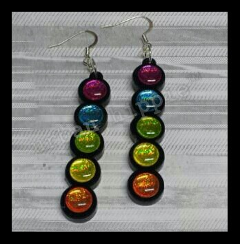 "UHipJewelry: ""Rainbow Bubbles""…small batch production, stacked rainbow bubbles on black resin earrings…by Urban Hippie™ …The Urban Hippie Experiment.. $20, 2""(5cm)"