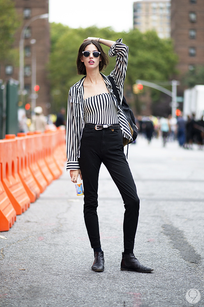 Street Style: Ruby Aldridge shoots for the sky in vertical stripes and high wasted denim. Via I'm Koo.