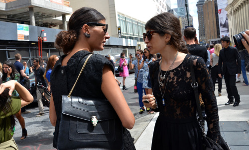 Giovanna Battaglia and Pamela Love outside Theyskens Theory show.