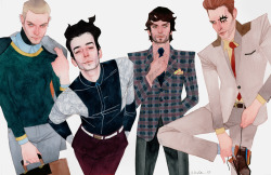 kevinwada:  Latest commission.  X-fashion of Hulkling, Wiccan, Rictor, and Shatterstar. Full description here!  ^Seriously one of my fave artists on Tumblr. Combining high fashion with comic book characters basically defines me.