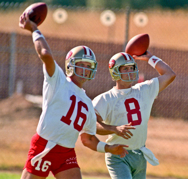 Joe Montana and Steve Young work on their throwing during a 1990 49ers practice. The duo led San Francisco to five Super Bowl titles in the '80s and '90s. Is this year's 49ers squad ready for a Super Bowl run? After beating Green Bay in Week 1, many NFL experts believe they are. (Al Golub/AP) KING MMQB: Thoughts on the NFL's opening weekBANKS: RGIII delivers on hype | Week 1 Snap Judgements